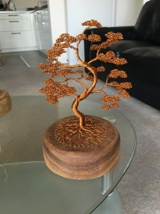 Curved Bonsai Style Tree Attached To Attached to Wooden Base Via Roots