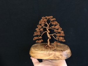Small Upright Wire Tree Sculpture Attached To Rustic Wood