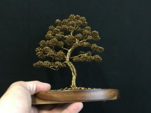 Large Bronze Wire Tree Attached to Circular Wooden Base