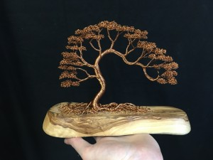 Arced Copper Tree Attached To Rustic Wooden Base