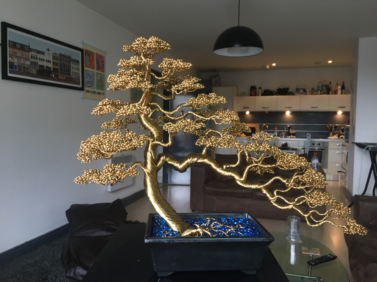 Gallery Andy Elliott Art What Does Wiring A Bonsai Do Large Bronze Wire Tree Attached To Circular Wooden Base Informal Upright